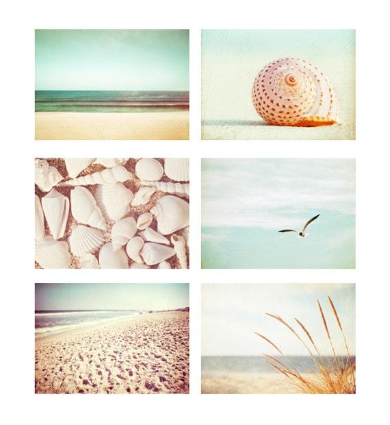 Beach Photo Set - Six Photographs 11x14, 8x10, 5x7 - ocean seashell beach sea shells photography print set mint green cream beige peach teal