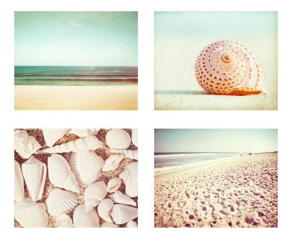 Beach Photography Set - Four 11x14, 8x10 Photographs, ocean seashell photo print mint green turquoise cream pastel beige seashore wall art