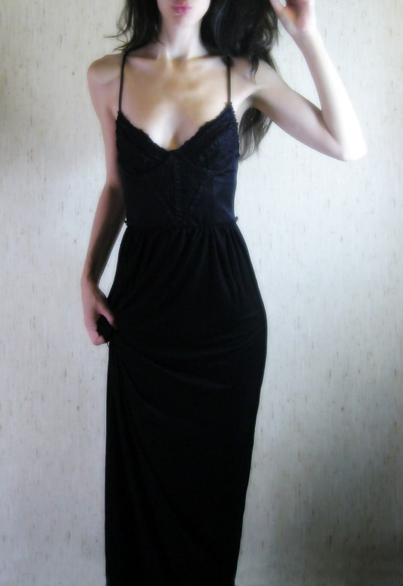 poe - vintage 60s revived gorgeous deep black organic bamboo lace maxi dress