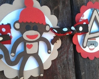 """Sock Monkey """"I Am 1"""" Highchair Banner in Red and Brown OR Pick your Own Colors"""
