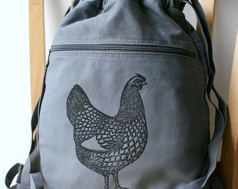 Chicken Canvas Backpack Laptop Bag