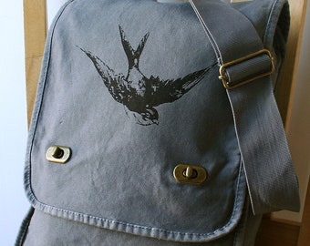 Swallow Field Bag Canvas Screen Printed