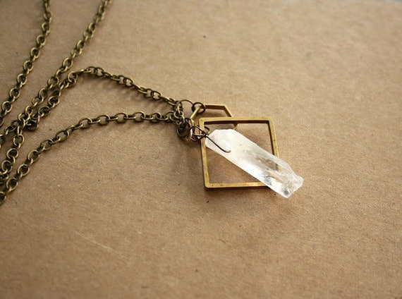 Raw Crystal and Geometric Layered Necklace