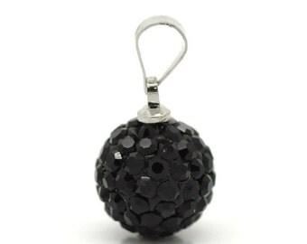 Black Pave Rhinestone Ball Pendant