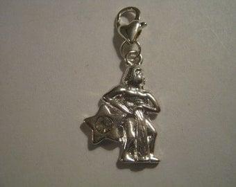 Silver Plated Aquarius Rhinestone Zodiac Clip on Charm