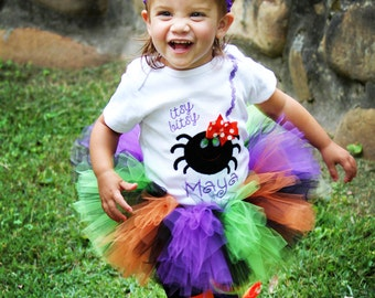 Halloween Outfit -- Baby Girl Halloween Outfit -- Itsy Bitsy Spider -- bodysuit, tutu, leg warmers and Over The Top bow