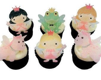 12 EDIBLE FAIRY PRINCESS Cupcake Toppers - Birthday Party Decorations - Cupcakes