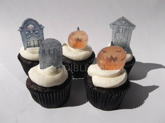 halloween tombstone cupcake toppers 12 edible decorations halloween wedding dia de los muertos - Edible Halloween Decorations