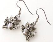 gift for owl lover, owl gift, owl earrings owl accessories, surgical steel earrings for sensitive ears, hypoallergenic earrings, animal