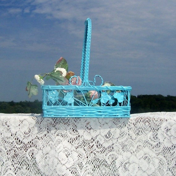 shabby chic rectangular  basket weddings cottage chic french country cottage chic aqua color wire and wicker