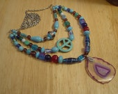 Handmade Glass Bead and Chain 'Blue Hazy Necklace'