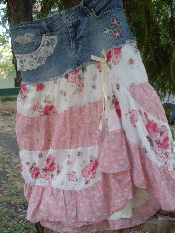Gypsy skirt Hippie boho farmgirl  shabby chic whimsy romance  Candies upcycle