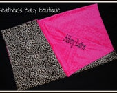 Hot Pink and Cheetah Minky Baby Blanket