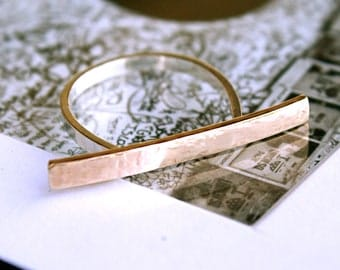 Solid Gold and Sterling Silver Bar Ring