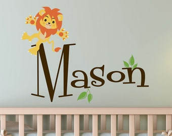 Children Wall Decal Baby Lion with Name Vinyl decal