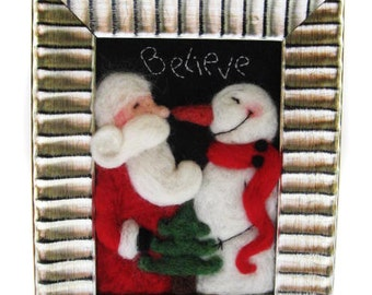 Christmas Decor- Felted Santa - Felted Snowman