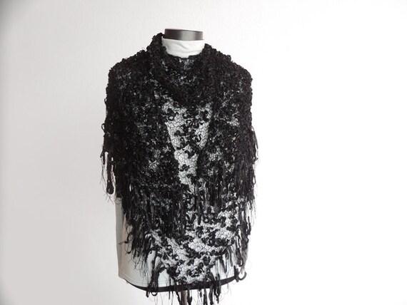 Black Hand Knit Shawl - Triangle Black Knitting Wrap, ready to ship