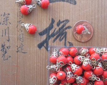 Vintage Glass Chinese Red  Hooped Drops