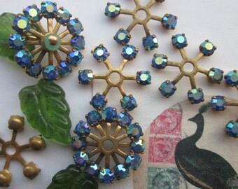 "Vintage Swarovski 17mm  Sapphire Crystal ""Spokes"""