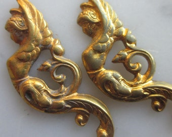 Mythical Winged Mermaid Brass Finding