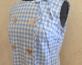 SALE 60s Gingham Dress / Mod Summer Shift Dress