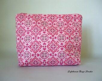 Wristlet Pouch w/ zipper -  White Chocolate Valentine Motif on Pink Fabric