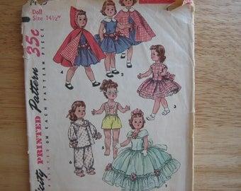 "Simplicity Pattern 1405 Wardrobe Suitable For TONI Walker Doll 14 1/2""    1955"