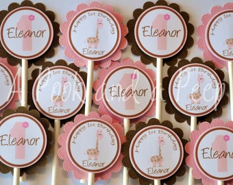 Pink and Brown Giraffe Birthday or Shower Cupcake Toppers Cupcake Picks Personalized