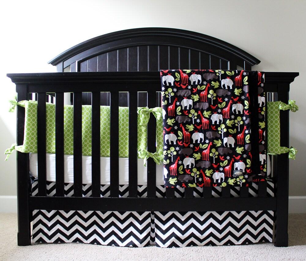 Sale crib bedding lime green and black reserved - Black and lime green bedding ...