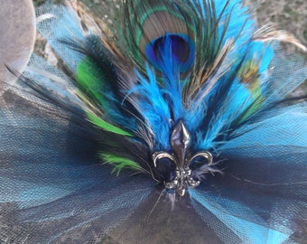 Beautiful Feather Fleur de lis Hair clip Fascinator