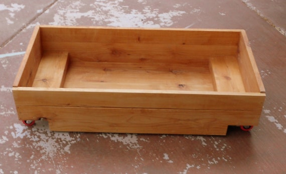 Custom Knotty Alder Rolling Under the Bed Storage Crate