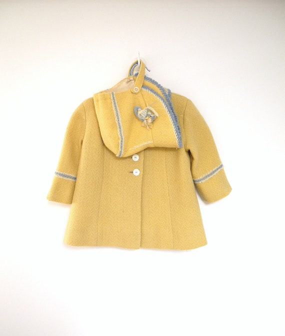 1950's Handmade Pale Yellow Embroidered Wool Coat and Matching Bonnet