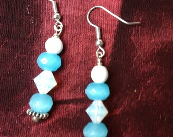 To the Cloud Handmade Earrings Featuring Turquoise and White Glass Beads-- Clearance Price