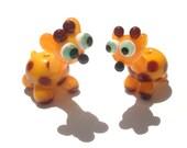 Glass lampwork giraffe bead