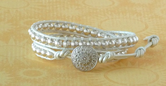 Chan Luu style, leather wrap bracelet, silver beads, metallic, white