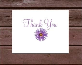 50 Lavender Purple Daisy Wedding Thank You Notes