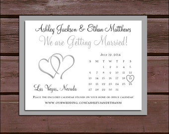 25 Hearts Wedding Save the Date Cards. Invitations come with FREE Calendar Stickers