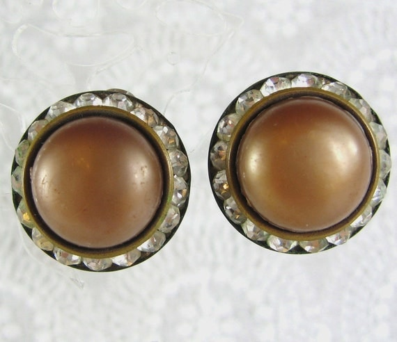 Vintage Button Earrings, Brown Lucite Cabochon, Channel Set Rhinestones, Clip-ons, 1960's Mad Men Jewelry