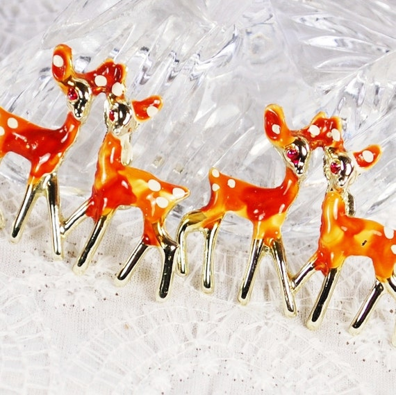 Vintage Jewelry Set, Figural Brooches, Scatter Pins, Spotted Fawns, Brown White Enamel Deer, 1950's Mid Century Mad Men, Woodland Jewelry