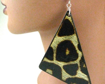 Black Leopard Wooden Earrings