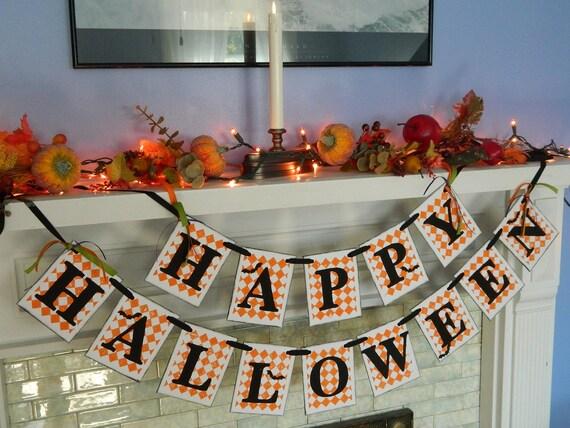 Happy Halloween Garland  -Halloween Sign- Halloween Party Photo Prop-Halloween Banner-