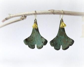 Ginkgo leaves & flowers - Gingko earrings Leafy Botanical Yellow beads verdigris green patina gift for Nature lover gardener under 20 30.