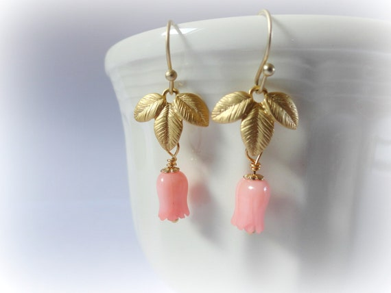 Coral tulip earrings - carved bamboo pink flamingo coral beads gold peach blush goldplated leaves gift for her everyday jewelry