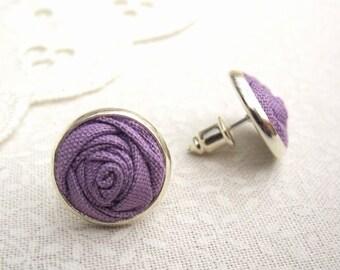 Wisteria Purple Stud Earrings - Simple Fabric Flower Earrings - Purple Rose Earrings