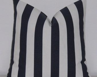 "Navy Blue Stripe Designer Pillow Cover- Decorative Pillowcase 18""x18"""
