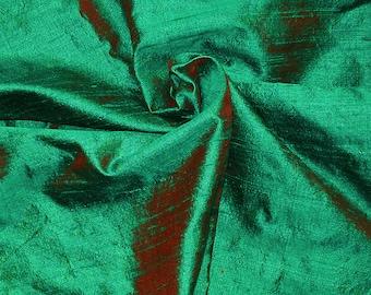 Fat quarter dual tone green with a rust tinge 100 percent pure  dupioni silk