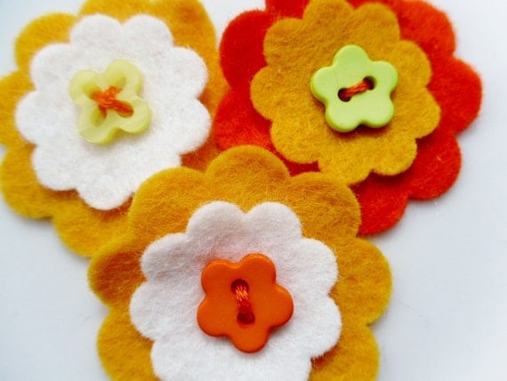 Die cut layered flowers embellishment x 3 UK felt supplies