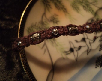 gUy's sTuFF...large size brown with silver beads men's bracelet free ship to u. s.