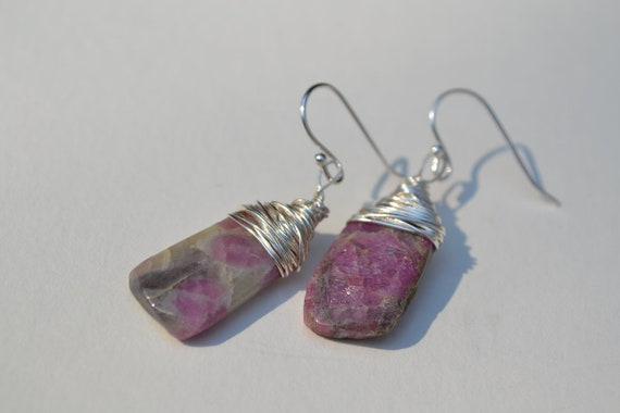 Ruby In Zoisite Stone Earrings, Silver wire wrapped and Hook