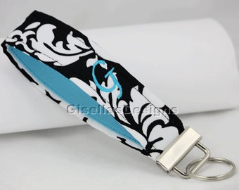Personalized Fabric Key Fob/ Monogrammed wristlet Key chain/ black Damask Key Fob